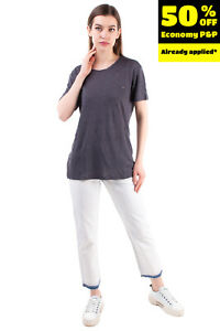 IRO Linen Jersey T-Shirt Top Size S Ripped Worn Look  Slub Yarn Short Sleeve