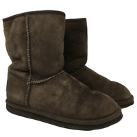 LL Bean Womens Suede Shearling Lined Short Boots Style 0HHX204 Brown Size 7M