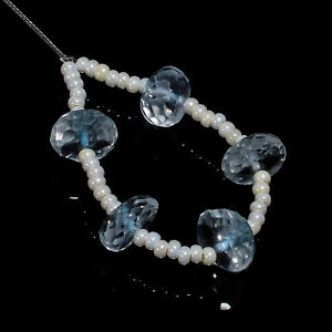 """Natural Aquamarine Gemstone Rondelle Shape Faceted Beads 8X8X5mm Strand 3"""" A2604"""