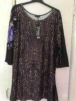 Lily by Firmiaria ladies tunic top plus size US 3X UK 18/20 black purple
