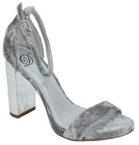 Delicious Women Thick High Heels Ankle Strap Open Peep Toe Gray Velvet SHINY-S