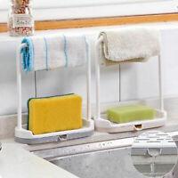 Kitchen Sink Faucet Sponge Soap Storage Organizer Double Drain Rack Holder Shelf