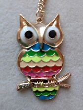 Owl Pendant Colourful Owl On  Chain