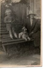 VINTAGE PHOTOGRAPH postcard: LADY & LITTLE BOY WITH PET TERRIER DOG