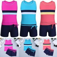 Kids Girls Tankini Swimwear Swimsuit Tops Bottoms Suit Bathing Surf Beach Wear