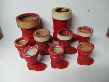 9 Assorted Paper Mache Santa Boot Christmas Candy Containers