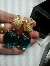 Stunning statement runway NWB YSL Yves Saint Laurent blue gold clip earrings