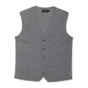 Men's Hackett, FF GG Merino Wool Gilet in Steel Grey