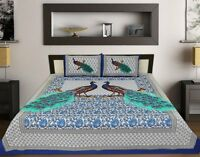 Peacock Mandala Tapestry Bedspread Printed Cotton Indian King Size Bed Sheet