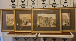 Vintage Joseph Nash Lithograph Mansions England English Prints Framed Grouping