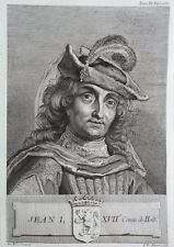 Gravure Antique print JEAN I Comte de Hollande Flipart Count of Holland