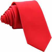 """New Polyester Men's 2.5"""" skinny Neck Tie only solid formal wedding work red"""