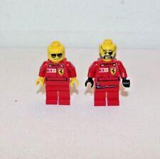 LEGO Ferrari Minifigure Lot x 2 Race Car Team Driver Pit Crew Minifigures