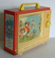 "Vintage 1966 Fisher Price Two Tune 7"" Giant Screen Music Box TV #114"