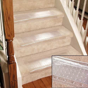 Clear Stair Treads Carpet Protectors Set of 2 Staircase Step Vinyl Non Slip New