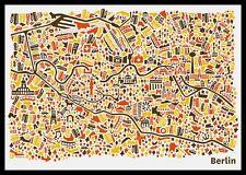 Berlin Stadtplan Poster Vianina Poster Bild Kunstdruck im Alu Rahmen 70x100cm