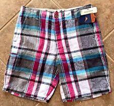 Tommy Bahama Major Madras 100% Linen Shorts Mens 32 Fog Grey Pink Plaid NWT $88