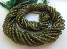 "14"" deep green VESUVIANITE IDOCRASE gem stone smooth rondelle beads 2.5 - 3.5mm"