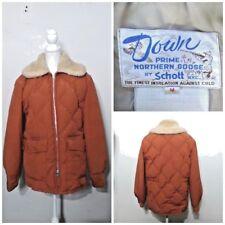Schott Coat Men's M Vintage 1970's Orange Puffy Goose Down Faux Fur inv#s8169