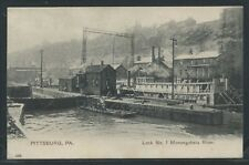 PA Pittsburg ROTOGRAVURE c.1905 LOCK NO. 1 & STEAMER JUTTE on MONONGAHELA RIVER