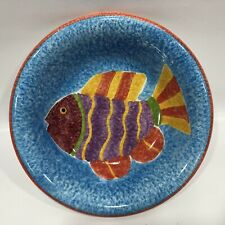 New listing Ceramic Hand PaInted Bowl Colorful Fish Red trim, Made In Thailand 8� Across