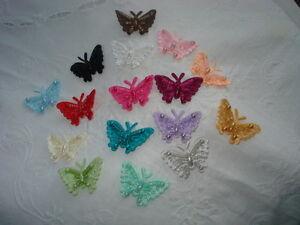 Butterfly Motifs, 3.5cm, 5 Sew-On, 16 Colours