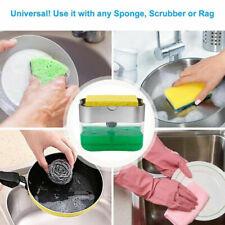 2 in 1 Home Liquid Soap Pump Dispenser ABS Kitchen Sponge Holder Press USA STOCK