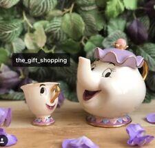 NEW Beauty And The Beast Teapot Cartoon Mug Mrs Potts Chip Tea Pot Cup Set XMAS