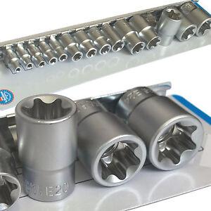 """Hilka Female TORX Bit STAR E Socket Set on Rail 1/4"""" 3/8"""" & 1/2"""" Drive. 14 TORX"""