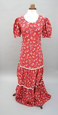 Vtg 'Denise' Flower Power Boho Hippy 1970'S 70's Prairie Maxi Dress UK 10 (G)