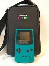 Nintendo Game Boy Color Teal CGB-001 w/Carry Case Untested - For Parts or Repair