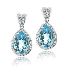 7.5ct Blue Topaz & CZ Teardrop Dangle Earrings