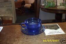 Hazel Atlas Aurora Cobalt Blue Cup and Saucer