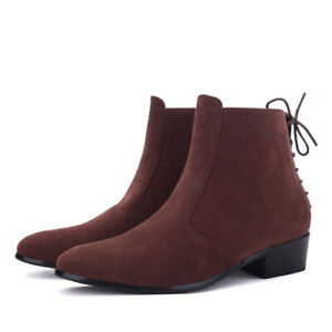 Men Suede Pointed Toe Side Zip Low Block Heel British Chelsea Boots Formal Shoes