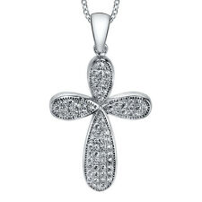 "Sterling Silver Cubic Zirconia Cross CZ Pendant Necklace with 18"" Silver Chain"
