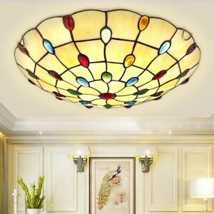 Tiffany Style Colorful Glass Bead Beige Glass Bowl Shade LED Ceiling Flush Mount