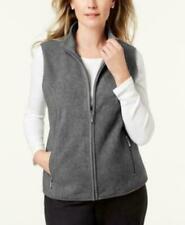 Karen Scott Sports Womens Charcoal Fleece Mock Neck Outerwear Vest Sz S//M   NWT