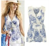 Women's Cabi Floral Blue White Sleeveless Top Size M