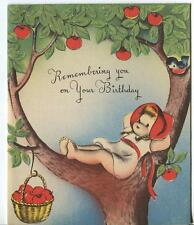VINTAGE CUTE GIRL BARE FEET APPLE TREE SMILING AUTUMN APPLES BLUE BIRD BDAY CARD