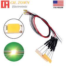 10pcs Dc6 12v 0402 1005 Warm White Smd Led Diodes Lights Pre Wired 20cm Line