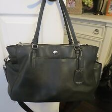 COACH BLACK Crossgrain Leather Baby Bag Diaper Laptop Travel Tote