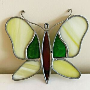 Yellow Stained Glass Butterfly Sun Catcher Window Ornament