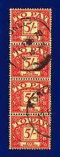 More details for 1961 sg d66 5s scarlet/yellow z27 strip (4) horley 17 feb 70 fine used deie