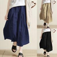 Mode Femme Pantalon Couleur Unie Taille elastique Jambe Large Long Ample Plus