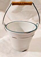 NORCAL POTTERY BUCKET Handler Flower Pot White Green Distressed Design Heavy USA