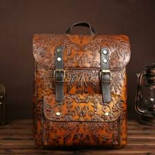 Retro Women's Vintage Brown Genuine Leather Backpack Travel Bag Embossed Handbag