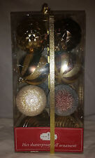 Gold and Chocolate Brown Colored 16ct Shatterproof Ornaments - 2.75in