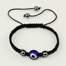 Evil Eye Bracelet Lampwork Blue Glass Bead Lucky Kabbalah Charm Amulet Unisex