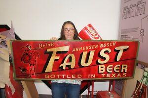 "Rare Large Vintage c.1933 Anheuser Busch Faust Budweiser Beer 54"" Metal Sign"