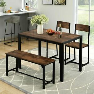 Industrial style Retro Set of 4 Kitchen Dining Table Dining and Chairs Bench Bar